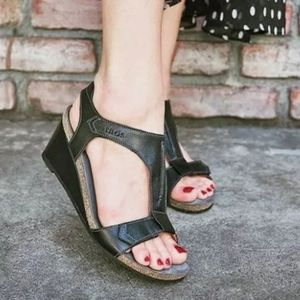 Taos Black Leather Shelia Wedge Ankle Strap Sandal